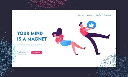 Influencer Smm Website Landing Page. Man and Woman Holding Huge Social Media Symbols of Likes Heart and Thumb Up Flying Attracting by Invisible Magnet Web Page Banner Cartoon Flat Vector Illustration
