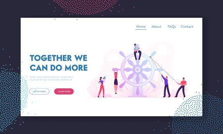 Business Team Work Website Landing Page. Group of Businesspeople Trying to Move Huge Steering Wheel under Management of Businesswoman with Loudspeaker Web Page Banner. Cartoon Flat Vector Illustration