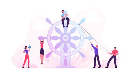 Team Work Concept. Group of Businesspeople Trying to Move Huge Steering Wheel under Management of Businesswoman with Loudspeaker, Man with Laptop Sitting on Top. Cartoon Flat Vector Illustration Stock Illustratie