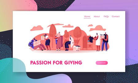 Donation Charity and Support to Beggars Website Landing Page. Volunteers Help Homeless Poor Unemployed People Living on Street Giving Food and Clothes Web Page Banner. Cartoon Flat Vector Illustration