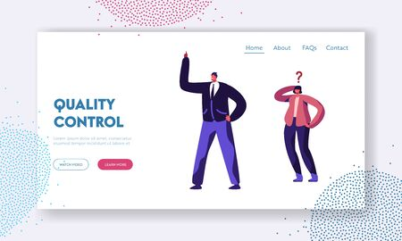 Young Troubled Couple Solving Problem Website Landing Page. Confused Doubting Woman with Question Mark and Smart Man Having Idea Thinking Together Web Page Banner. Cartoon Flat Vector Illustration