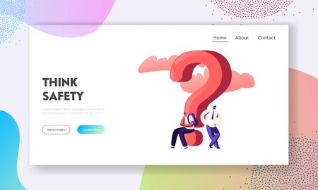 People Solving Problem Searching Solution Website Landing Page. Thoughtful and Doubtful Characters Thinking Under Huge Question Mark. Doubts Confusion Web Page Banner Cartoon Flat Vector Illustration