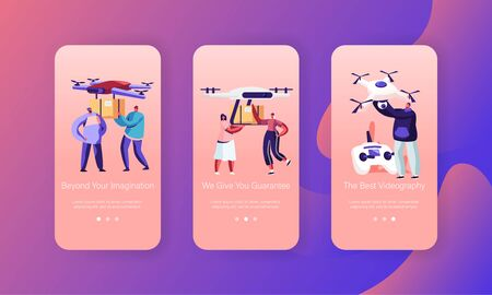Drones Delivery Service, Innovation Technologies Mobile App Page Onboard Screen Set. People Navigating Quadcopters with Remote Control Concept for Website or Web Page, Cartoon Flat Vector Illustration Illustration