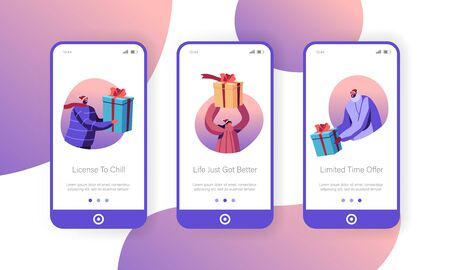 Christmas and New Year Presents Mobile App Page Onboard Screen Set. Happy People in Santa Hats Holding Gift Boxes. Xmas Celebration Concept for Website or Web Page, Cartoon Flat Vector Illustration