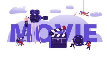 Concepto de proceso de creación de películas. Operador con cámara y personal con equipo profesional para grabar películas. Folleto del aviador de la bandera del cartel de la película de la claqueta y del carrete. Ilustración de Vector plano de dibujos animados