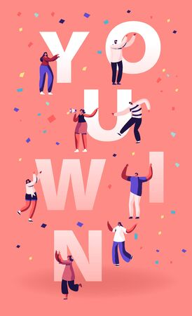 You Win Concept. Cheerful People Laughing Dancing and Celebrating with Hands Up. Employees Rejoice for New Project Success and Victory Poster Banner Flyer Brochure. Cartoon Flat Vector Illustration Illustration