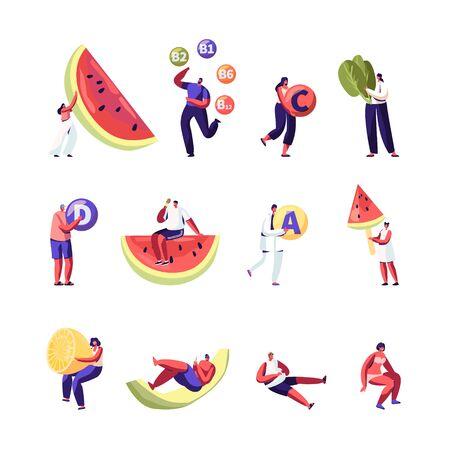Estilo de vida saludable, conjunto de opciones de alimentos orgánicos aislado sobre fondo blanco. Vitaminas en Productos. Frutas y Hortalizas Fuente de Salud. Ilustración de Vector plano de dibujos animados de sandía limón, Clip Art