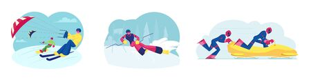 Set of Skikiting Snowboardkiting Bobsleigh and Ski Slalom Sports Activities. Sportsmen Riding Skis and Snowboard with Kite. Competitors on Bob, Skier Player Cartoon Flat Vector Illustration, Clip Art