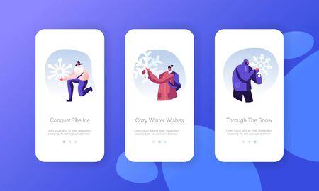 People Enjoying Snowfall Mobile App Page Onboard Screen Set. Happy Characters Holding Huge Snowflakes in Hands