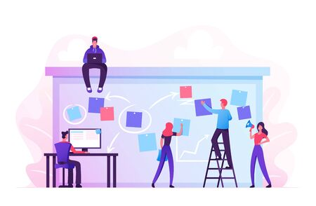 Company Business Team Working Together Planning and Scheduling Their Operations Agenda on Big Spring Desk. Drawing Marks and Stick on Paper Sheets Standing on Ladder. Cartoon Flat Vector Illustration