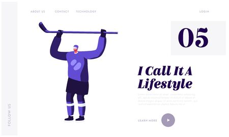 Hockey Game Player Website Landing Page. Young Sportsman in Playing Uniform Holding Stick above Head Celebrating Victory Illustration