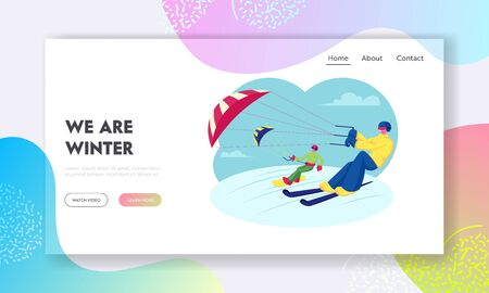 Extreme Winter Sport Outdoors Activity Website Landing Page. Happy Snowboarder and Skier with Kite Riding