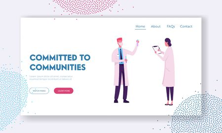 Chemistry Science Staff at Work Website Landing Page. Scientists Conduct Experiments and Scientific Research in Laboratory. Technician Hold Test Tube Web Page Banner. Cartoon Flat Vector Illustration Illusztráció