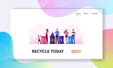 Reduce Environment Pollution Website Landing Page. Family with Kids Collect Litter to Recycle Bins, People Recycling Garbage to Separation Containers Web Page Banner. Cartoon Flat Vector Illustration