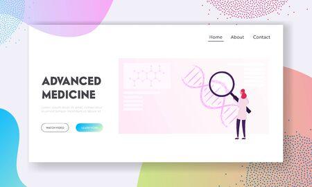 Scientific Research in Ancestry Genetics Website Landing Page. Woman Look on Huge Dna Molecule Testing Genes in Lab