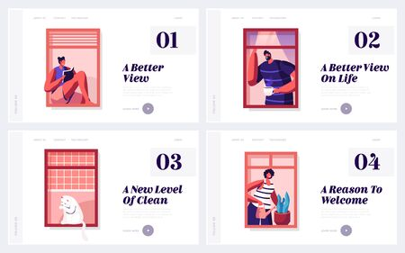 People Life and Neighborhood Website Landing Page Set. Male Female Characters and Domestic Cat in Windows. Drinking Coffee, Reading, Watering Plants Web Page Banner. Cartoon Flat Vector Illustration Çizim