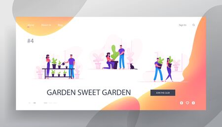 Happy Family Couple Homework with Plants Website Landing Page. Man and Woman Characters Caring of Flowers