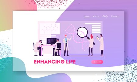 Medicine Genetic Technology Website Landing Page. Scientists Working with Dna Looking Huge Magnifying Glass Illustration