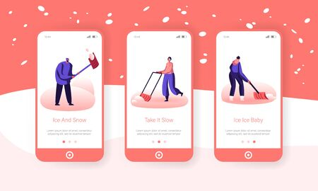 Snow and Ice Removal after Blizzard Mobile App Page Onboard Screen Set. Cheerful People Remove Snowdrifts with Shovels from Ground Concept for Website or Web Page, Cartoon Flat Vector Illustration