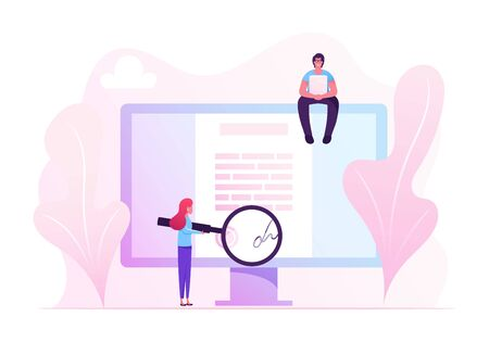 Online Contract Signing Concept. Tiny Woman Reading Document with Digital Signature on Huge Pc Screen through Huge Magnifying Glass. Man with Laptop Sitting on Monitor Cartoon Flat Vector Illustration