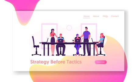 Team Project Development, Teamwork Process Website Landing Page. Business People Employees Sitting at Desk
