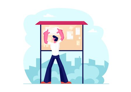 Young Man Billposter Sticking Paper Advertisement on Bulletin Board on City View Background. Male Character Posting Flyer on Special Board for Announcements. Side Job Cartoon Flat Vector Illustration