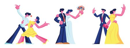 Happy Loving Couple Spare Time Relations Set. Man and Woman Dancing, Going to Restaurant for Dating, Bride and Groom Get Married. Young People Create Family Cartoon Flat Vector Illustration, Clip Art Banco de Imagens - 132659329