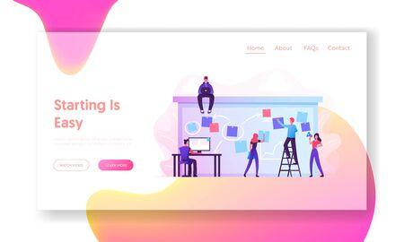 Planung und Planung des Geschäftsteams des Unternehmens Agenda auf der Landing Page der Desk-Website