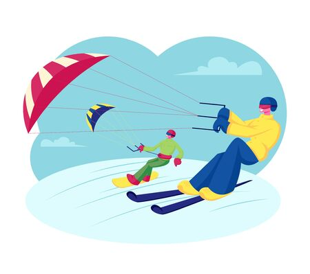 Happy Snowboarder and Skier with Kite Riding Downhills by Snowdrifts. Extreme Winter Sport Outdoors Activity, Ski Resort Recreation, Skis and Snowboard Kiting Hobby. Cartoon Flat Vector Illustration