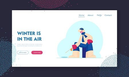 Ice Fishing Website Landing Page. Fisherman in Warm Clothing Sitting with Rod on Lake or Sea Having Good Catch Çizim