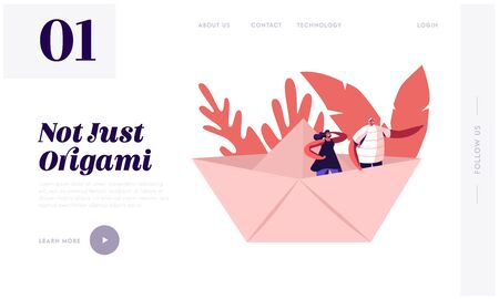 Business or Origami Hobby Concept Website Landing Page. Young Happy Couple Stand in Paper Ship, Woman Looking Forward Man Pointing Way with Hand Web Page Banner. Cartoon Flat Vector Illustration