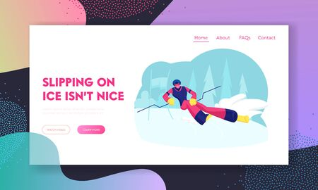 Ski Slalom Winter Sports Website Landing Page. Young Man Going Downhill by Skis on Nature Background. Outdoors