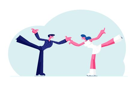 Figure Skating Winter Sport Activity. Couple of Young Skaters Man and Woman in Festive Dressing Holding Hands with Leg Up Dancing on Ice Rink at Skating Competition. Cartoon Flat Vector Illustration