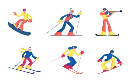 Set of Winter Kinds of Sport Activities Isolated on White Background. Skiing Snowboarding Biathlon Sportsmen with Sports Equipment Skis Snowboard and Rifle. Cartoon Flat Vector Illustration, Clip Art