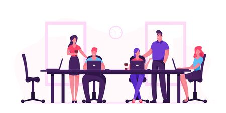 Business People Sitting at Desk during Board Meeting Discussing Idea in Office. Team Project Development, Teamwork Process. Employee Work on Laptops and Communicate. Cartoon Flat Vector Illustration