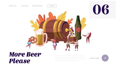 Oktoberfest Celebration Website Landing Page. Male and Female Characters Wearing Traditional German Costumes Walking around Huge Wood Barrel with Beer Web Page Banner. Cartoon Flat Vector Illustration