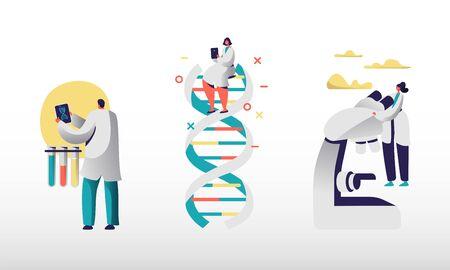 Mitarbeiter im genetischen Labor, die Internet und intelligente Technologien für die Arbeit nutzen. Wissenschaftler verwenden Tablets und elektronische Mikroskope für die biologische und chemische Forschung. Flache Vektorillustration der Karikatur