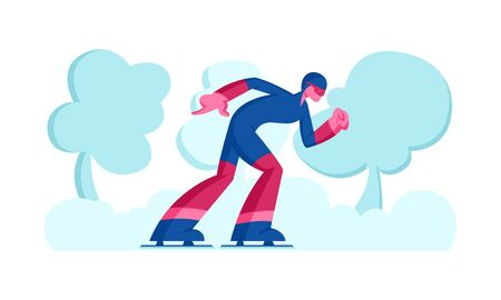 Sportsman Skater in Sportswear and Helmet Take Part in Speed Skating or Short Track Competition Moving Fast by Stadium. Winter Season Sport Recreation, Exercising. Cartoon Flat Vector Illustration
