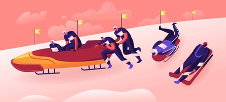 Outdoors Athletics Sports Activity Concept. Bobsleigh and Skeleton Winter Sport Competition Racing. Sportsmen Illustration