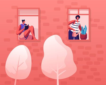 People Living Behaviour, Neighborhood Concept. Facade of Building with Windows, Girls Neighbors Hobby and Household Activities Reading and Watering Plants. Happy Life Cartoon Flat Vector Illustration Stockfoto - 132660077