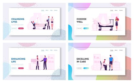 Patients and Doctors in Hospital Website Landing Page Set. Medics Staff Communicate with Sick People in Clinic
