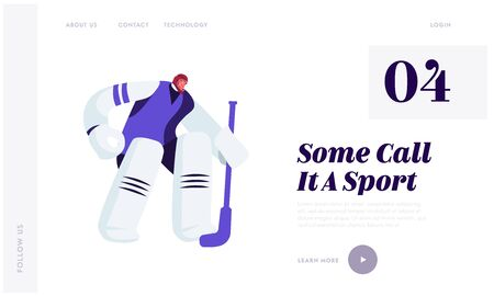 Hockey Competition Website Landing Page. Goalkeeper in Sports Equipment Catch Puck Standing at Defend Attacked Gate  イラスト・ベクター素材