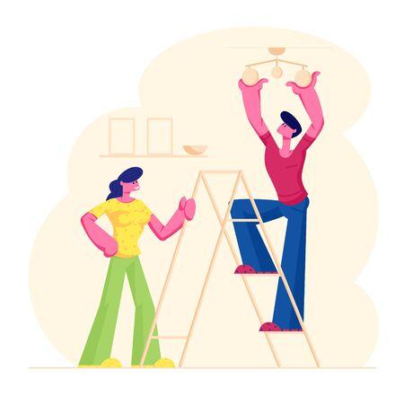 jeune couple, décoration salon, appartement, homme, debout, sur, échelle, lampe suspendue, sur, plafond Vecteurs