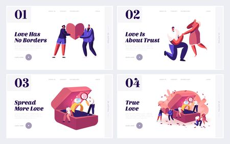 Love, Proposal and Engagement Website Landing Page Set. Loving Men Asking Women Get Married Standing on Knees, Choosing Ring in Bridal Jewelry Store Web Page Banner. Cartoon Flat Vector Illustration Ilustración de vector