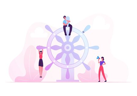 Teamwork, Leadership and Management Concept. Business People Floating on Imaginary Boat to Aim. Man Sitting on Huge Steering Wheel, Businesswoman Cry to Loudspeaker. Cartoon Flat Vector Illustration 向量圖像