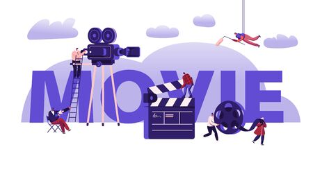 Movie Making Process Concept. Operator Using Camera and Staff with Professional Equipment for Recording Film. Clapperboard and Reel Film Poster Banner Flyer Brochure. Cartoon Flat Vector Illustration