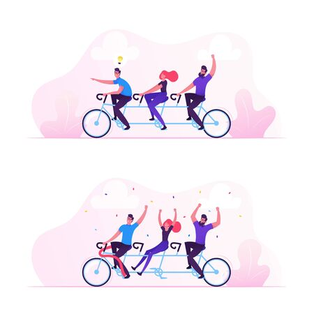 Team Work Business Success Concept. Businesspeople Riding Bicycle Generating New Idea, Man with Light Bulb. People Celebrate Victory. Brainstorm Teamwork Cooperation. Cartoon Flat Vector Illustration