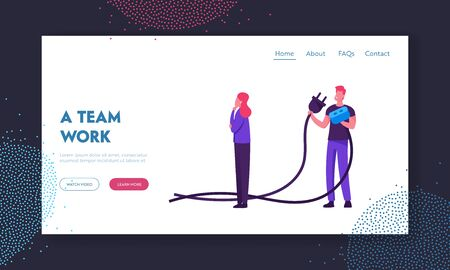 Teamwork Connection, Partnership Cooperation Website Landing Page. Business People Hold Plug. Man and Woman Connecting Power Socket. Creative Crisis Web Page Banner. Cartoon Flat Vector Illustration