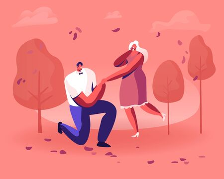 Young Man Standing on Knee Holding Girl Hand Making Proposal to Woman Asking her Marry him in Beautiful Autumn Garden or Park with Trees. Love Engagement Marriage Cartoon Flat Vector Illustration