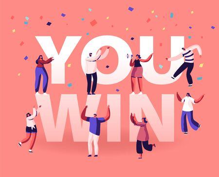 You Win Concept. Cheerful People Laughing Dancing and Celebrating with Hands Up. Employees Rejoice for New Project Success and Victory Poster Banner Flyer Brochure. Cartoon Flat Vector Illustration